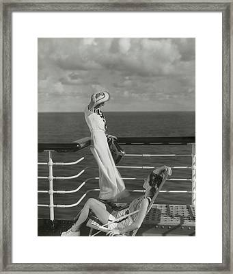Two Models On The Deck Of A Cruise Ship Framed Print by Edward Steichen