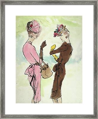Two Models, Standing Face To Face, Wearing Bright Framed Print by Carl Eric Erickson