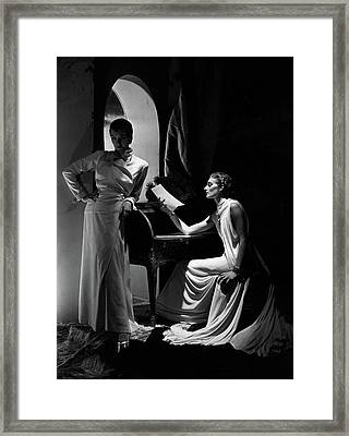 Two Models Wearing Clothing By Yrande And Maggy Framed Print by Horst P. Horst