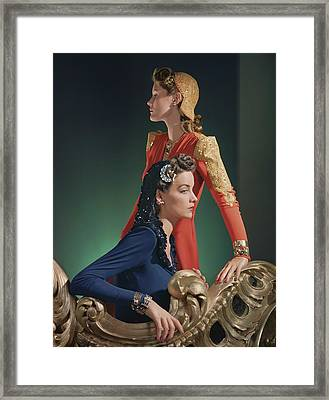 Two Models Wearing Evening Gowns Framed Print by Horst P. Horst