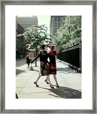 Two Models Wearing Plaid Mohair Skirts And Stoles Framed Print