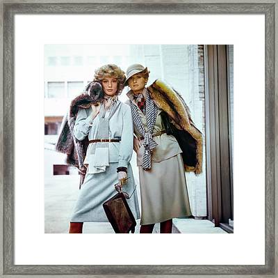 Two Models Wearing Two Piece Dress Suits Framed Print