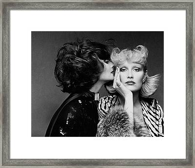 Two Models Wearing Wigs By Edith Imre Framed Print