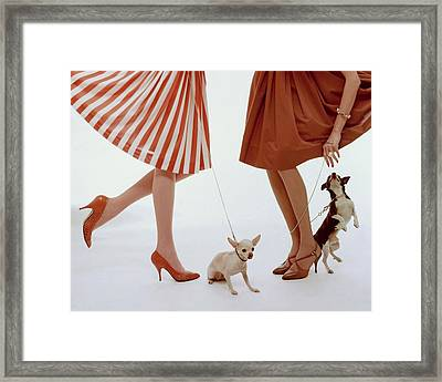 Two Models With Dogs Framed Print by William Bell