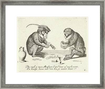 Two Monkeys Cards, Quirin Boel, David Teniers II Framed Print