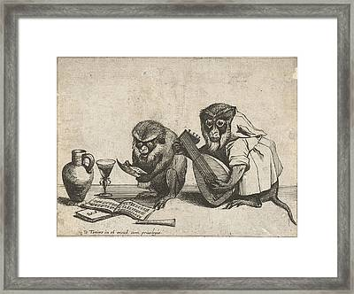 Two Monkeys Making Music, Quirin Boel, David Teniers II Framed Print