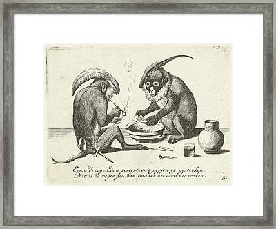 Two Monkeys Smoking A Pipe, Quirin Boel, David Teniers II Framed Print