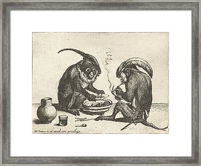 Two Monkeys Smoking Pipe, Quirin Boel, David Teniers II Framed Print