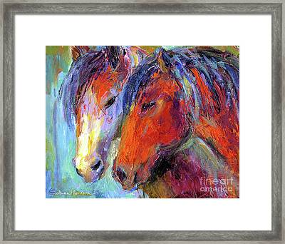 Two Mustang Horses Painting Framed Print by Svetlana Novikova