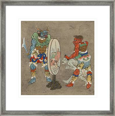 Two Mythological Buddhist Or Hindu Figures Circa 1878 Framed Print by Aged Pixel