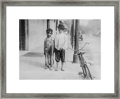 Two Newspaper Boys Framed Print