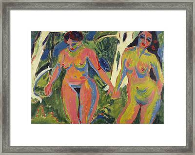 Two Nude Women In A Wood Framed Print by Ernst Ludwig Kirchner
