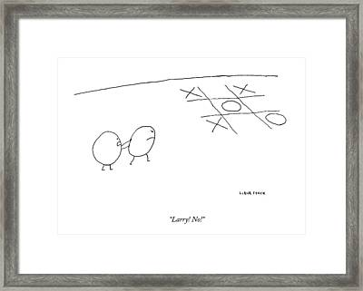 Two O-characters Stand By A Game Of Tic-tac-toe Framed Print