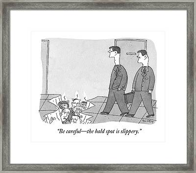 Two Office Workers Approach A Hole In The Ground Framed Print