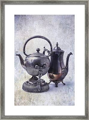 Two Old Teapots Framed Print by Garry Gay