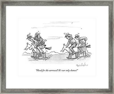 Two Old West Outlaws Riding Away From Sheriffs Framed Print by Liam Walsh