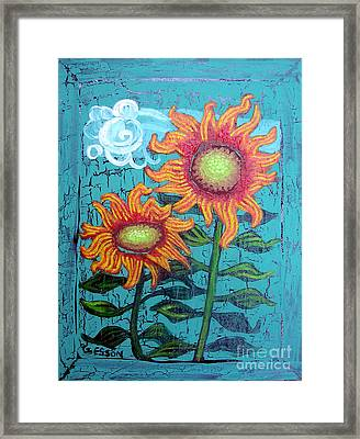 Two Orange Sunflowers Framed Print by Genevieve Esson