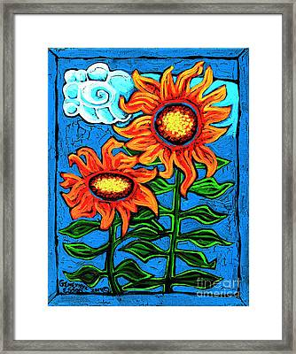 Two Orange  Sunflowers II Framed Print by Genevieve Esson