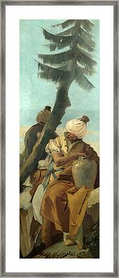 Two Orientals Seated Under A Tree Framed Print by Giovanni Battista Tiepolo