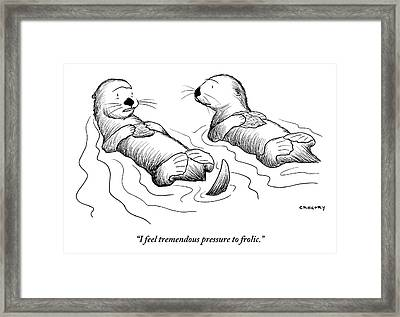 Two Otters Laying On Their Backs. One Is Speaking Framed Print