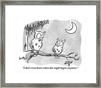 Two Owls Sit On A Tree Branch Talking To Each Framed Print by Robert Leighton