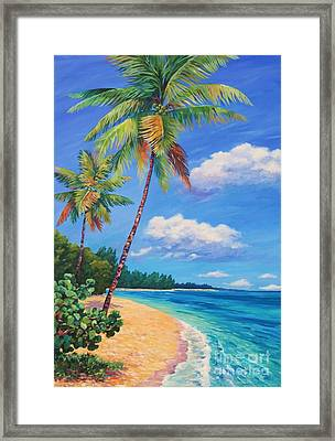 Two Palms In Paradise Framed Print by John Clark