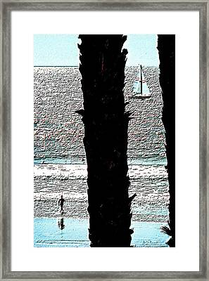 Two Palms Sailboat And Swimmer Framed Print by Brian D Meredith