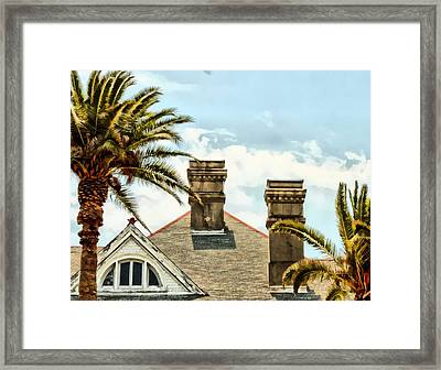 Two Palms Two Chimneys And Gable Framed Print by James Stough