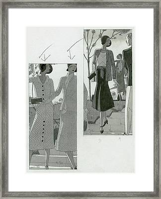 Two Panel Illustration Of Fashionable Women Framed Print by Jean Pages