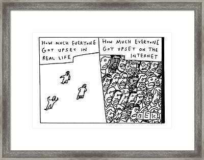 Two Panels: How Much Everyone Got Upset In Real Framed Print by Bruce Eric Kaplan