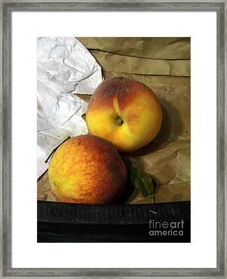 Two Peaches Framed Print by Miriam Danar