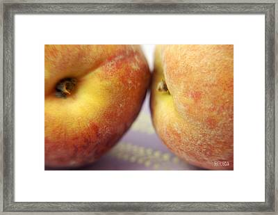 Two Peaches On A Purple Background Framed Print by Beverly Brown