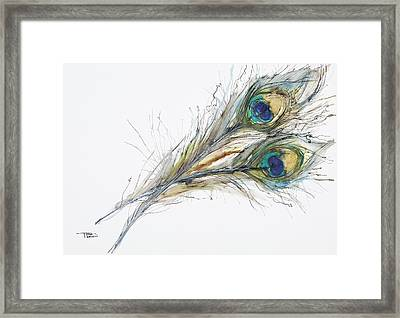 Two Peacock Feathers Framed Print by Tara Thelen