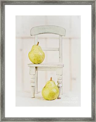 Two Pears And A Chair Still Life Framed Print by Edward Fielding