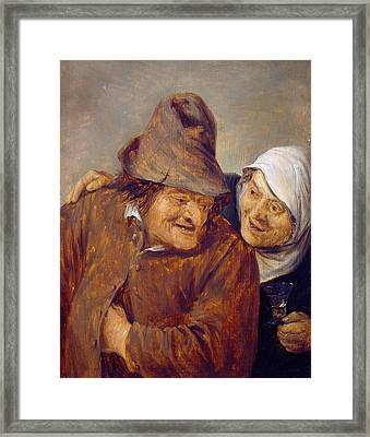 Two Peasants With A Glass Of Wine Framed Print by David Teniers the Younger