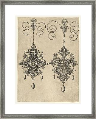 Two Pendants With Sundial, Anonymous, Hans Collaert Framed Print by Anonymous And Hans Collaert (i) And Philips Galle