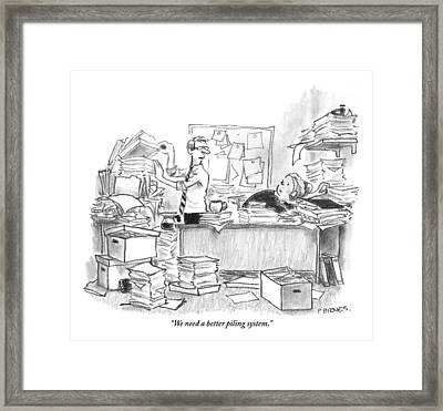 Two People Are In An Office Surrounded By Large Framed Print by Pat Byrnes