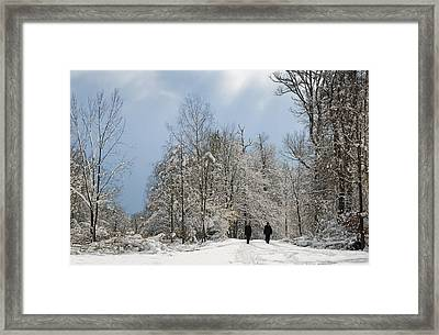 Two People Doing A Walk In Beautiful Forest In Winter Framed Print by Matthias Hauser