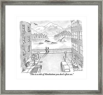 Two People In Manhattan Gaze Out At A Spectacular Framed Print by David Borchart