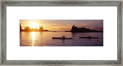 Two People Kayaking In The Sea, Broken Framed Print by Panoramic Images