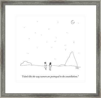 Two People Look At The Stars Framed Print by Liana Finck