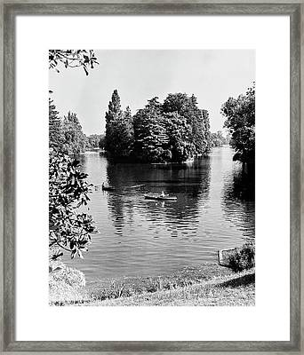 Two People Rowing At Bois Du Boulogne Park Framed Print by Erwin Blumenfeld