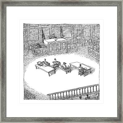 Two People Sit On A Modern-looking Curved Bench Framed Print by John O'Brien