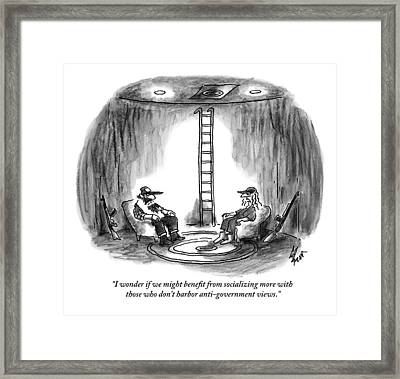 Two People Sitting In Chairs In A Bunker Framed Print