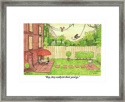 Two People Sitting On Their Back Patio Framed Print