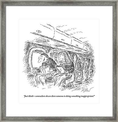 Two People Speaking On An Airplane Framed Print