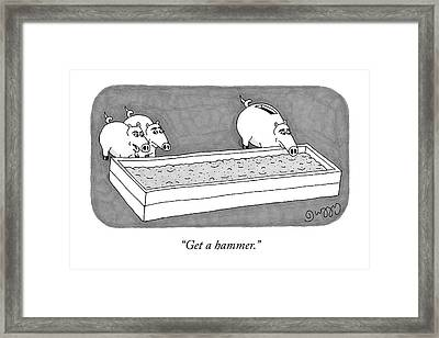 Two Pigs Look At Another Pig With A Coin Slot Framed Print