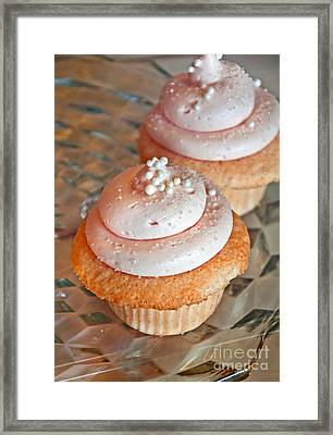Two Pink Cupcakes Art Prints Framed Print