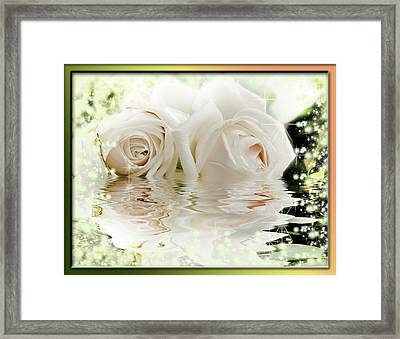 Two Pink Roses In Water Reflection Framed Print