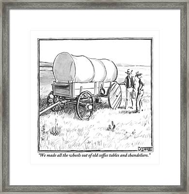 Two Pioneers Discuss The Wheels Of Their Wagon Framed Print by Matthew Diffee
